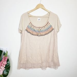 Lilka Anthropologie Cream Embroidered Aztec  Top